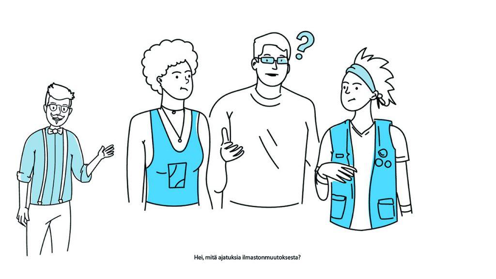 Piirroskuva erilaisista ihmisistä keskustelemassa ilmastosta.