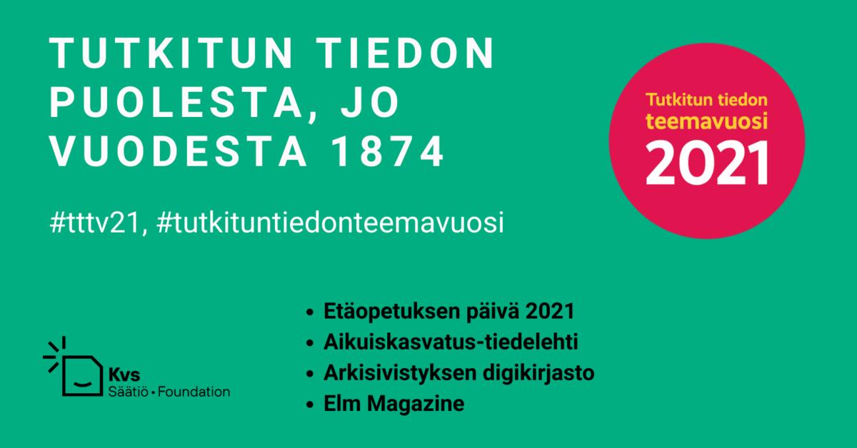 Kvs mukana Tutkitun tiedon teemavuodessa 2021